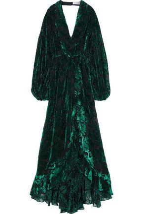 CAROLINE CONSTAS Olivia wrap-effect devoré-chiffon gown