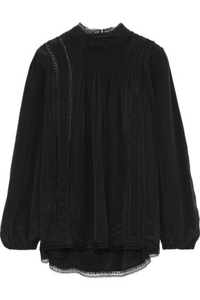 ZIMMERMANN Lace-trimmed pleated silk top