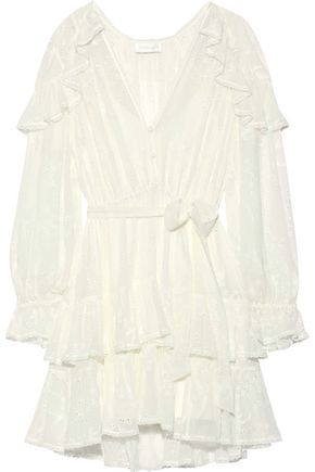 ZIMMERMANN Ruffled broderie anglaise silk-chiffon mini dress