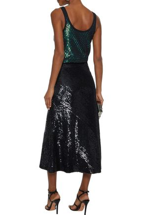 ALEXANDER WANG Layered open-knit and sequined jersey midi dress