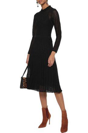 M MISSONI Pleated metallic crochet-knit cotton-blend midi dress