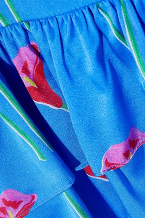 CAROLINE CONSTAS Nadine tiered floral-print washed stretch-silk camisole