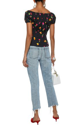 CAROLINE CONSTAS Dione gathered floral-print cotton-blend top