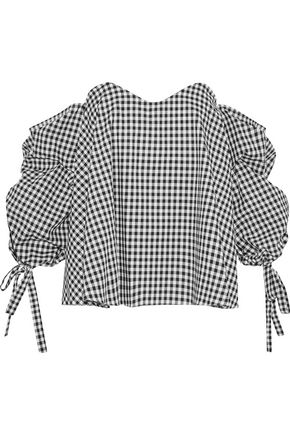 CAROLINE CONSTAS Gabriella off-the-shoulder gingham cotton-poplin top