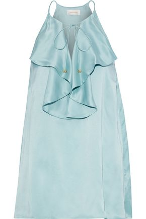 ZIMMERMANN Ruffled washed-silk top