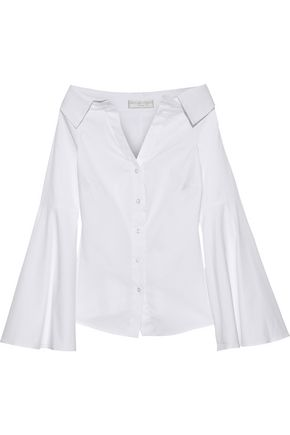 CAROLINE CONSTAS Persephone off-the-shoulder stretch-cotton poplin shirt