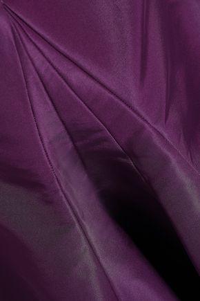 ZAC POSEN Open-back fluted silk duchesse-satin gown
