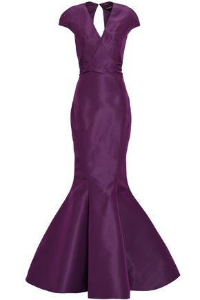 ZAC POSEN Open-back fluted silk duchesse-satin gown
