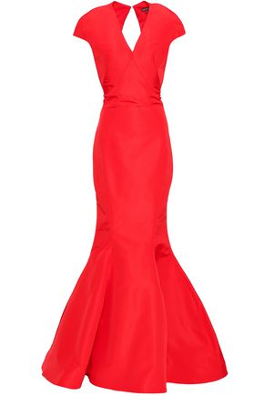 fd8dd1e337f140 ZAC POSEN Open-back fluted silk duchesse-satin gown