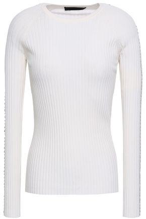 ALEXANDER WANG Embellished ribbed cotton-blend top