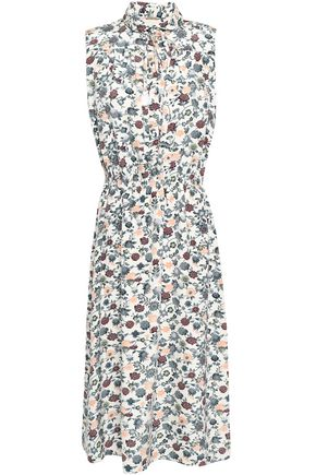 ADAM LIPPES Tasseled floral-print crepe de chine midi dress