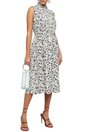 720ed77b78 ADAM LIPPES Tasseled floral-print crepe de chine midi dress