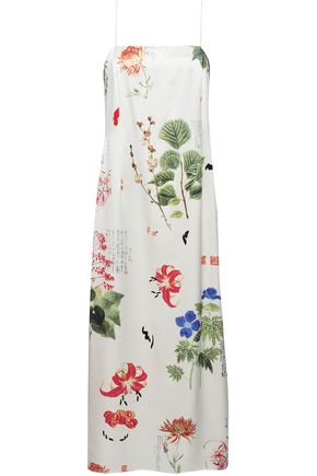 ADAM LIPPES Floral-print silk-satin midi dress