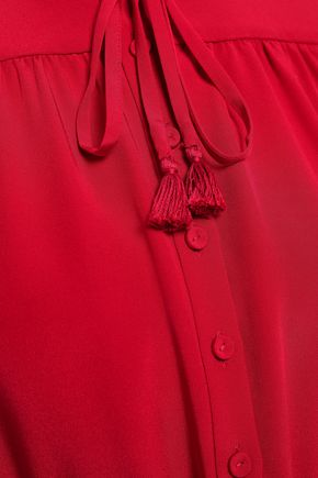 ADAM LIPPES Tie-neck silk crepe de chine midi dress