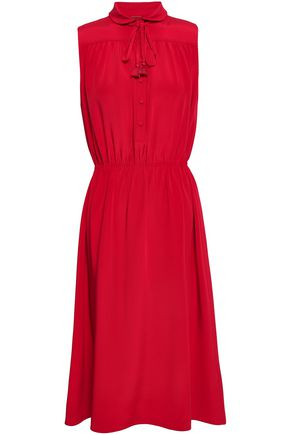 Tie Neck Silk Crepe De Chine Midi Dress by Adam Lippes