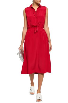 ee22c7c6f63 ADAM LIPPES Tie-neck silk crepe de chine midi dress