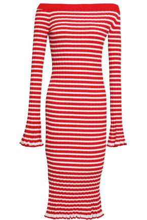 CAROLINE CONSTAS Off-the-shoulder striped ribbed-knit dress