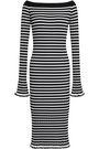 CAROLINE CONSTAS Off-the-shoulder striped ribbed-knit dress