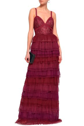 f31a60ad MARCHESA NOTTE Tiered Leavers lace-paneled plissé-tulle gown