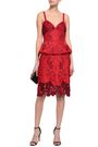 MARCHESA NOTTE Embroidered ponte peplum dress