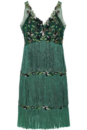 MARCHESA NOTTE Tiered fringed embellished tulle dress