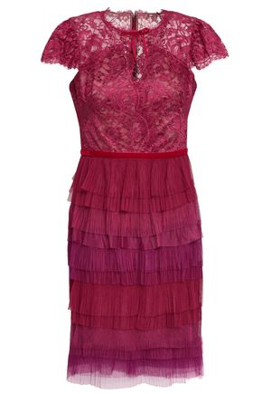 MARCHESA NOTTE Tiered lace and plissé-tulle mini dress