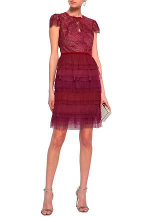 8f73ca5e59d MARCHESA NOTTE Tiered lace and plissé-tulle mini dress