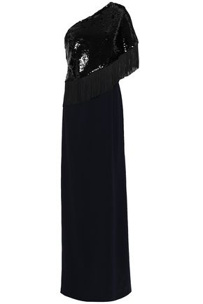 SACHIN & BABI Kezia one-shoulder fringed sequined stretch-crepe gown