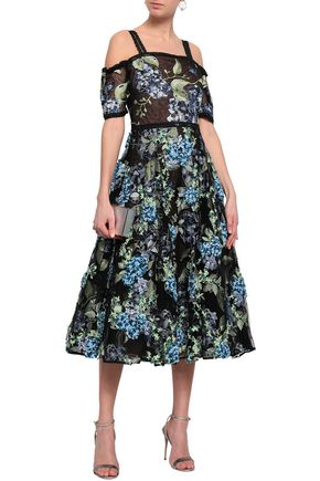 MARCHESA NOTTE Cold-shoulder embellished tulle midi dress