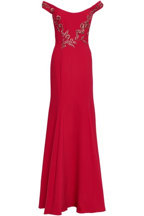 MARCHESA NOTTE Off-the-shoulder embellished cady gown