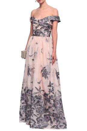 MARCHESA NOTTE Off-the-shoulder fil coupé organza gown