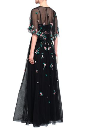 MARCHESA NOTTE Embellished embroidered tulle gown