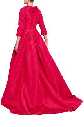 CAROLINA HERRERA Belted flared silk-faille gown