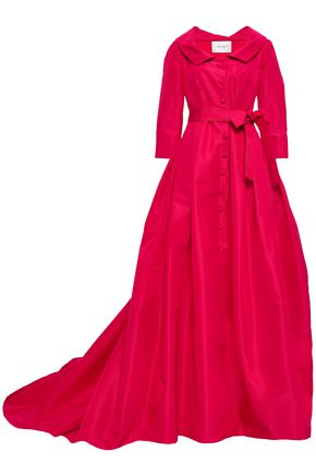 CAROLINA HERRERA Belted flared silk-faille gown