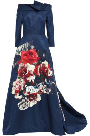 CAROLINA HERRERA Off-the-shoulder floral-print cotton-blend gown
