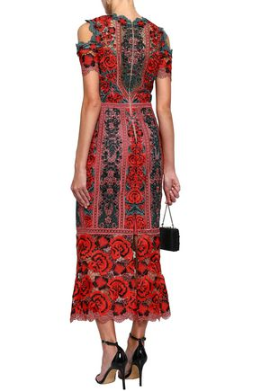 MARCHESA NOTTE Cold-shoulder crocheted maxi dress