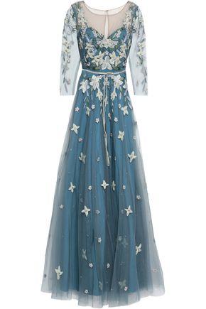 MARCHESA NOTTE 装飾付き チュール ロングドレス