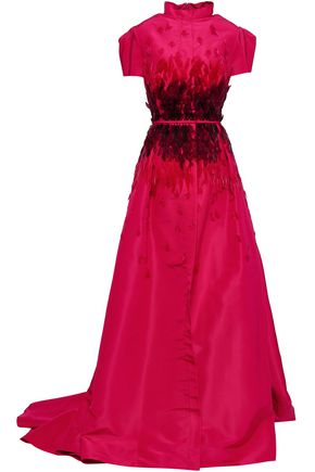 CAROLINA HERRERA Embellished flared silk-faille gown