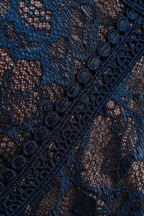 MARCHESA NOTTE Tiered Leavers lace-paneled plissé-tulle gown