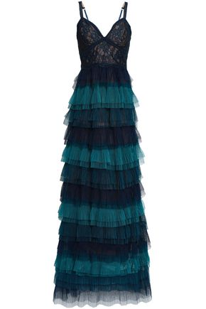 MARCHESA NOTTE Tiered tulle and corded lace gown