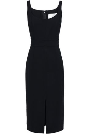 CAROLINA HERRERA Wool-blend crepe midi dress