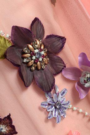MARCHESA NOTTE Velvet-trimmed embellished tulle gown