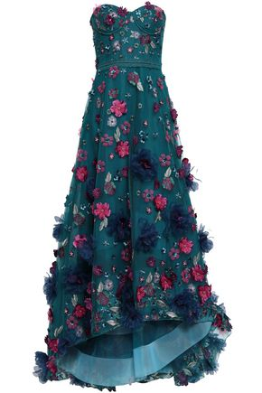 MARCHESA NOTTE Strapless floral-appliquéd embroidered tulle gown
