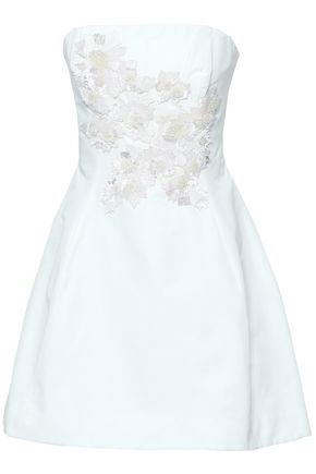 MARCHESA NOTTE Strapless embellished cotton and silk-blend mini dress