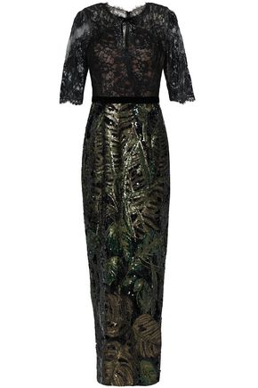 0ba18d3faa64 MARCHESA NOTTE Lace and sequined tulle gown