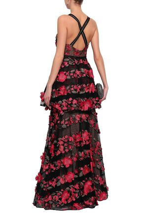 MARCHESA NOTTE Layered embroidered point d'esprit gown