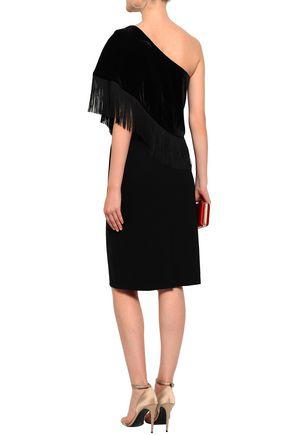 SACHIN & BABI Briar one-shoulder fringed velvet dress