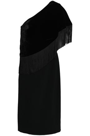 SACHIN & BABI Briar one-shoulder fringed velvet dress