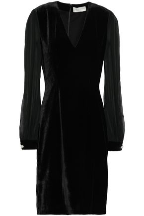 SACHIN & BABI Embellished chiffon-paneled velvet dress