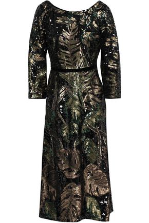 MARCHESA NOTTE Velvet-trimmed embroidered woven dress